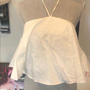Designer White Cotton Swing Halter Top,NWT